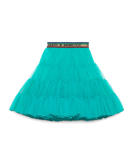 Tulle Gucci Monster A-Line Skirt, Size 4-12