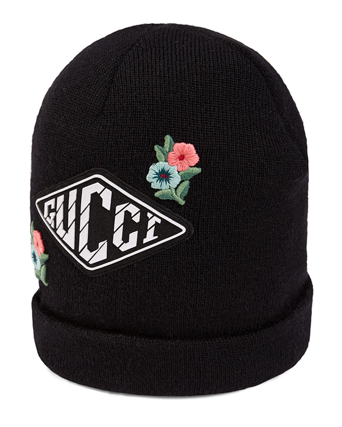 Gucci Kids  Wool Knit Beanie Hat w  Flower   Game Patches  e49cfc75fcaa