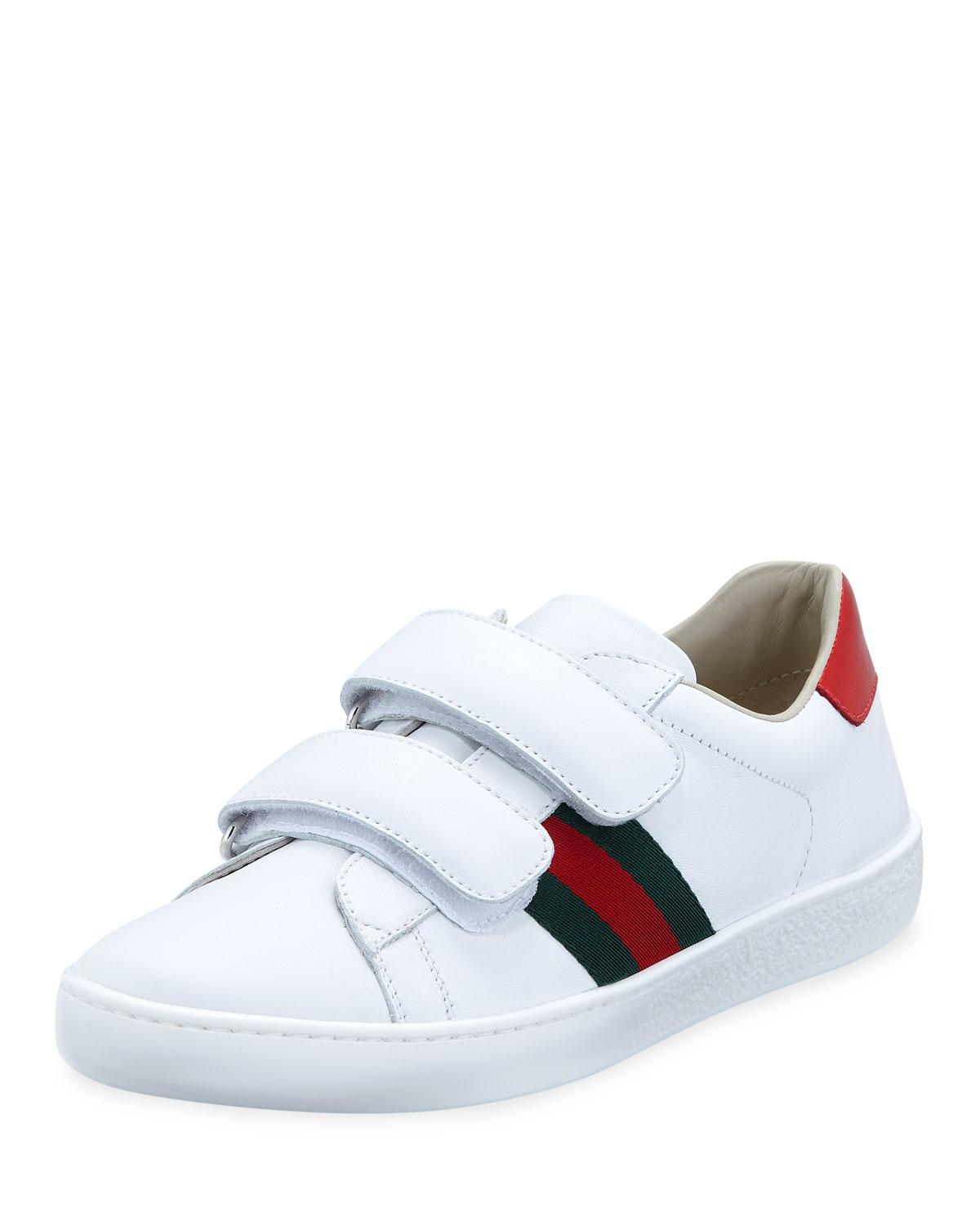 d1e67343cd7 Gucci New Ace Web-Trim Leather Sneakers