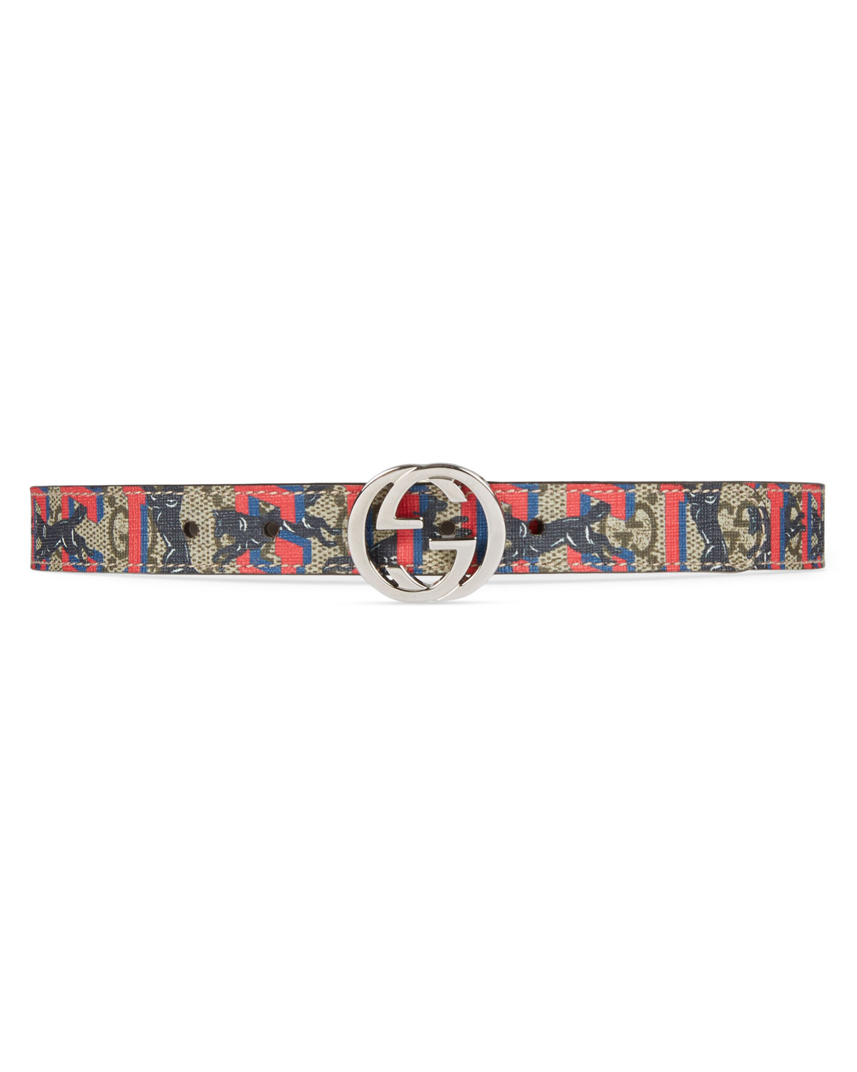 9cd27322d4a5e2 Gucci Kids' Wolves-Print GG Supreme Belt | Neiman Marcus