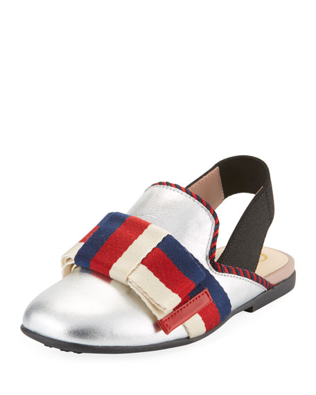 Gucci Metallic Leather Web Bow Mule Slide, Toddler/Kids