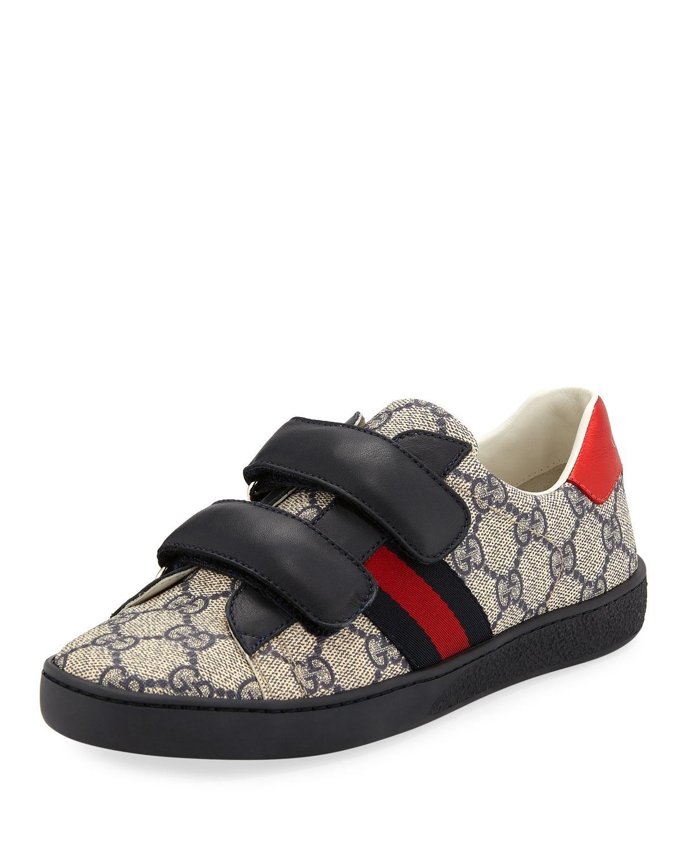 514d7c5095a Gucci New Ace GG Supreme Canvas Web-Trim Sneakers