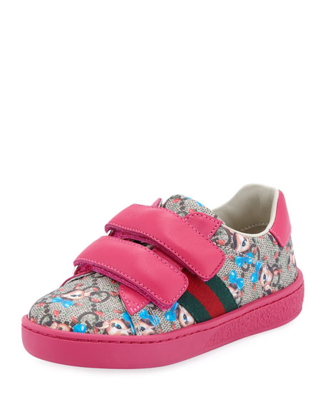 Gucci New Ace GG Supreme Fawns-Print Sneakers, Toddler