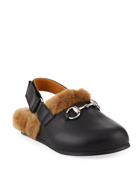Gucci Leather Mule Slides w/ Faux Fur Lining,