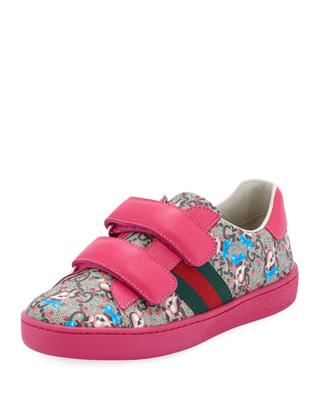 Gucci New Ace GG Supreme Fawns-Print Sneakers, Kids