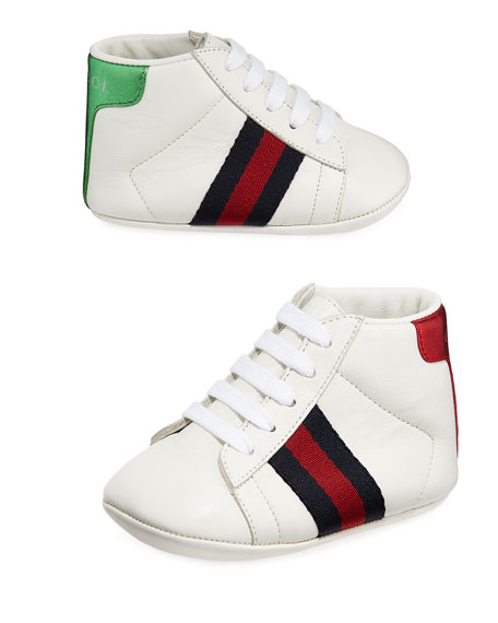 Gucci New Ace Web-Trim Leather Sneakers, Baby
