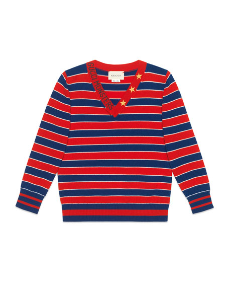 Striped V-Neck Gucci Monsters & Stars Wool Sweater, Size 4-12