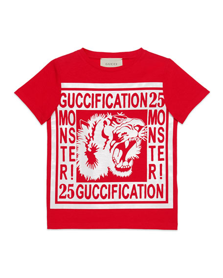 Gucci Guccification Monster & Tiger Print T-Shirt, Size