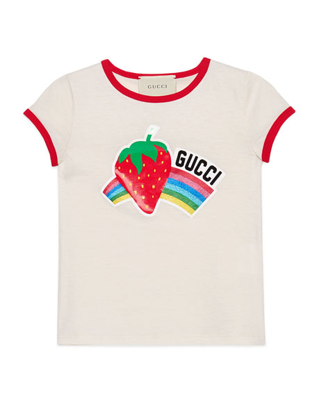 Gucci Glitter Strawberry Rainbow T-Shirt, Size 4-12