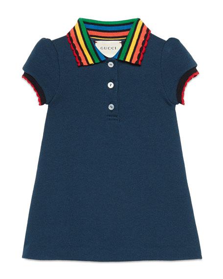 Short-Sleeve Fawn-Print Dress w/ Rainbow Collar, Size 9-36 Months