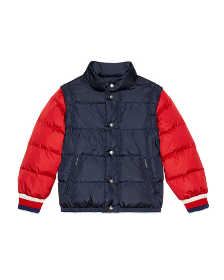 Quilted Vintage Logo Puffer Jacket w/ Zip-Off Sleeves, Size 4-10