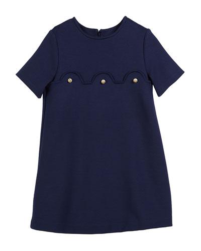 Jersey Stretch Dress w/ GG Glass Pearl Trim, Size 4-12