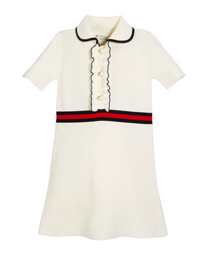68432274b19 Gucci Web-Trim Short-Sleeve Dress w  GG Glass Pearls