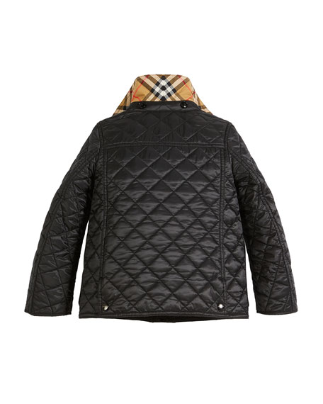 Charlie Check-Lined Quilted Jacket, Size 4-14