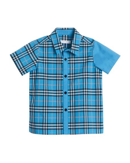 Sammi Emblem Check Short-Sleeve Shirt, Size 4-14