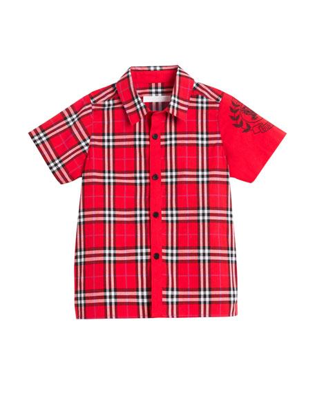 Sammi Check Embroidered-Sleeve Shirt, Size 4-14
