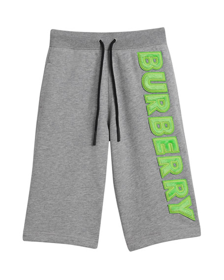 Burberry Heathered Logo Shorts, Size 4-14