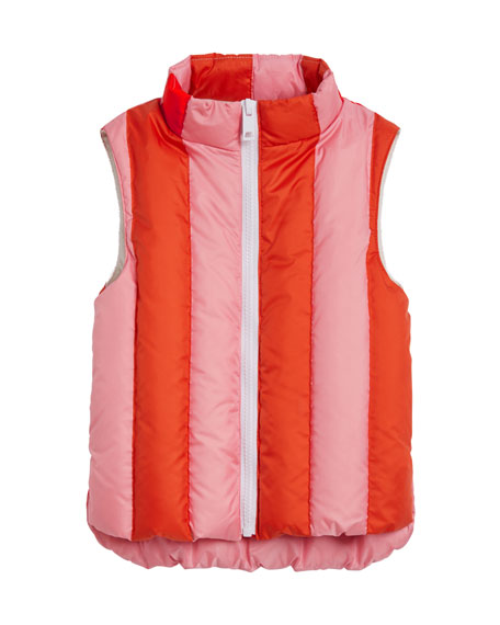 Ardelle Striped Quilted Vest, Size 4-14
