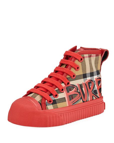 Burberry Kingly Graffiti-Logo Check High-Top Sneaker, Toddler