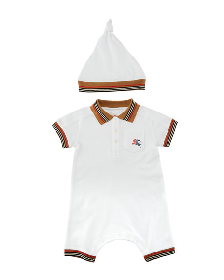 Burberry Kai Striped-Trim Polo Shortall w/ Hat, Size