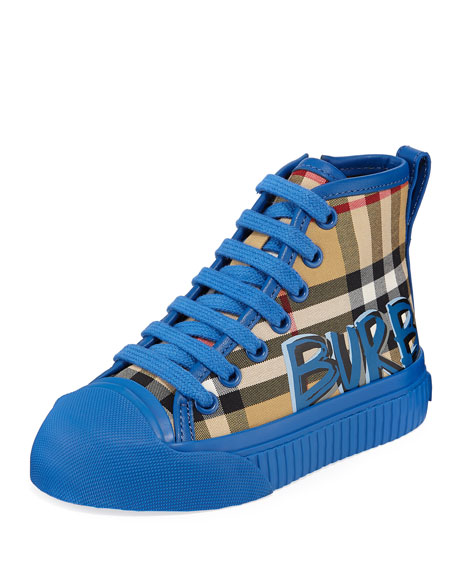 Burberry Kingly Graffiti-Logo Check High-Top Sneakers, Toddler