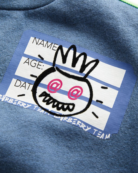 Hello Sticker Patched Sweatshirt, Size 12M-3