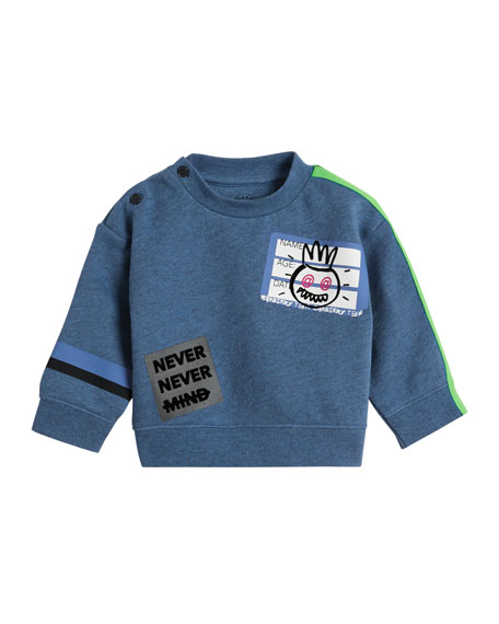 Burberry Hello Sticker Patched Sweatshirt, Size 12M-3