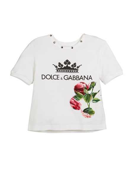 Crown D&G Logo Tee with Peony & Jewels, Kid Girls
