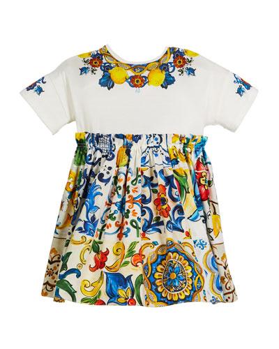 Combo Maiolica-Print Short-Sleeve Dress, Size 8-12