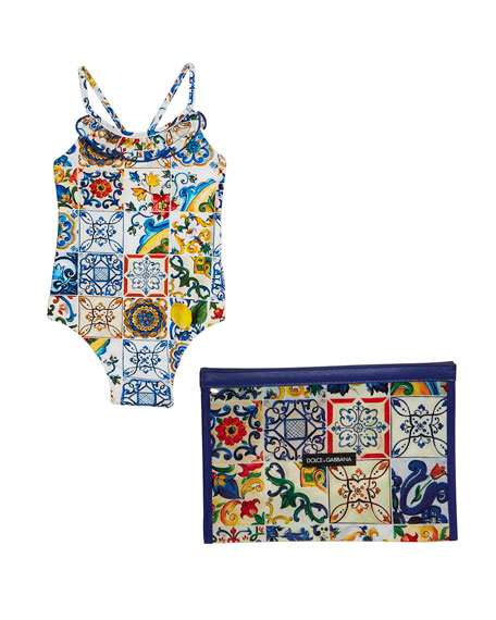 Maiolica-Print Cross-Back One-Piece Swimsuit, Size 9-24 Months
