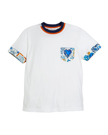 Dolce & Gabbana Maiolica-Trim Short-Sleeve T-Shirt, Size 8-12