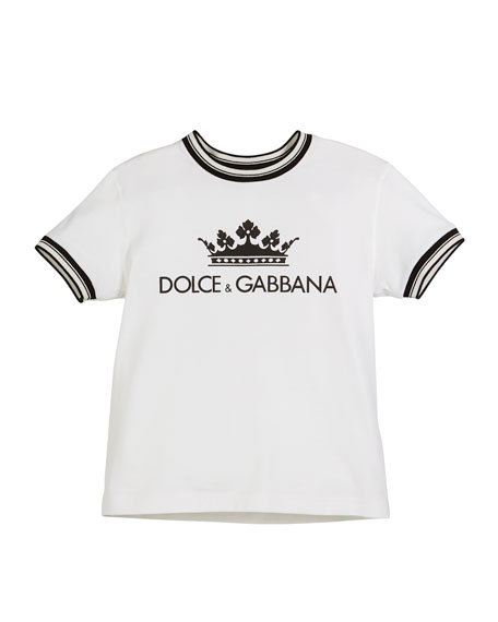 Crown D&G Logo Ringer Tee - Optic White, Toddler Boys