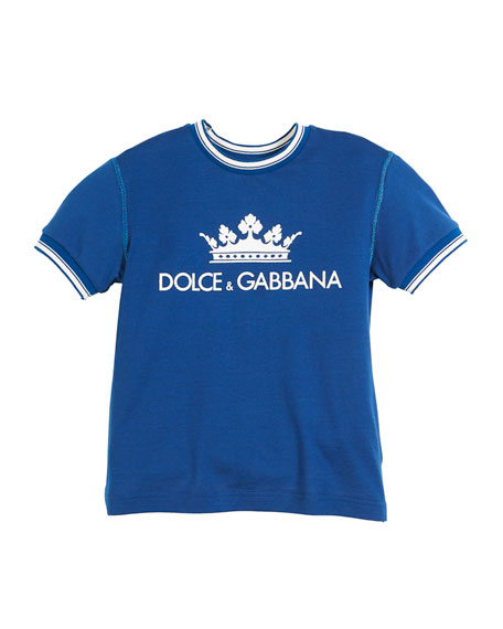 Crown D&G Logo Ringer Tee - Dark Blue, Kid Boys