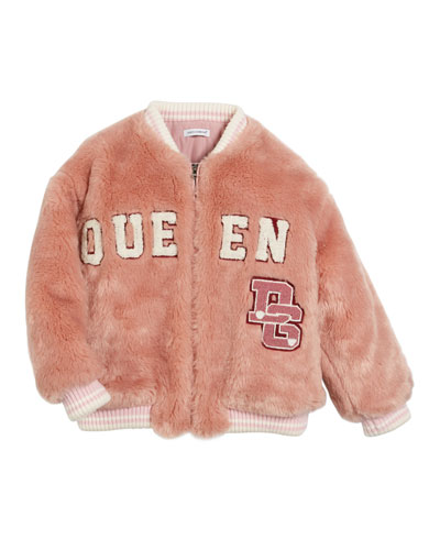 Queen Faux-Fur Bomber Jacket, Size 8-12