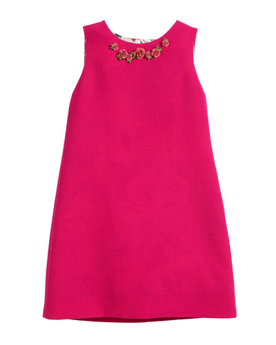 Sleeveless Crepe Dress w/ 3D Roses, Size 8-12