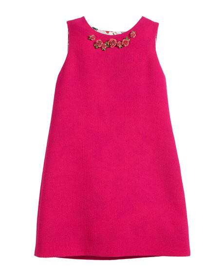 Sleeveless Crepe Dress w/ 3D Roses, Size 8-12