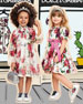 Peonies-Print Tiered Puffy-Sleeve Dress w/ Bloomers, Size 12-30 Months
