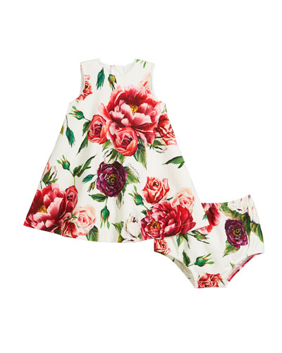 Peony-Print Sleeveless Dress w/ Bloomers, Size 12-30 Months