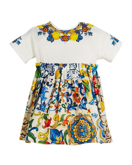 Combo Maiolica-Print Short-Sleeve Dress, Size 4-6