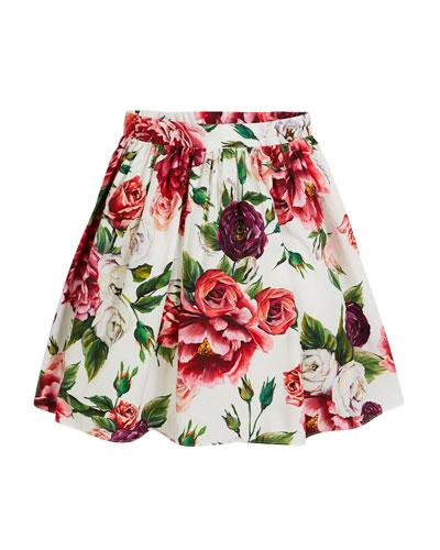 Poplin Rose & Peony Skirt, Size 8-12