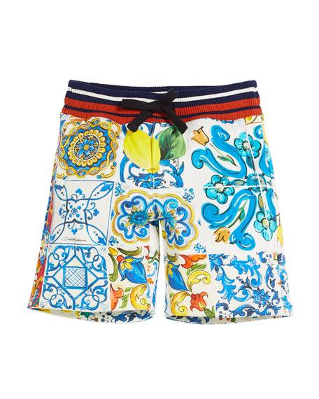 Dolce & Gabbana Maiolica Mix Bermuda Shorts, Kid