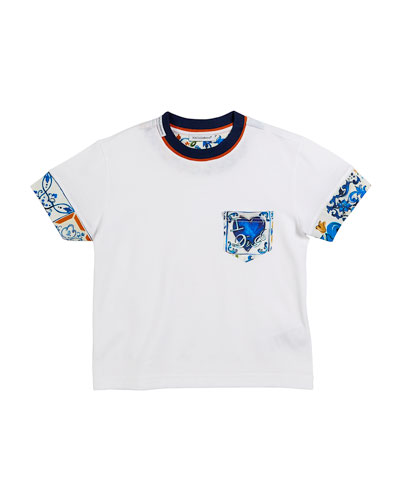 Maiolica-Trim Short-Sleeve T-Shirt, Size 2-6