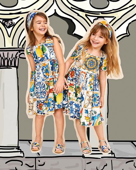 Maiolica-Print Cotton A-Line Dress, Size 4-6