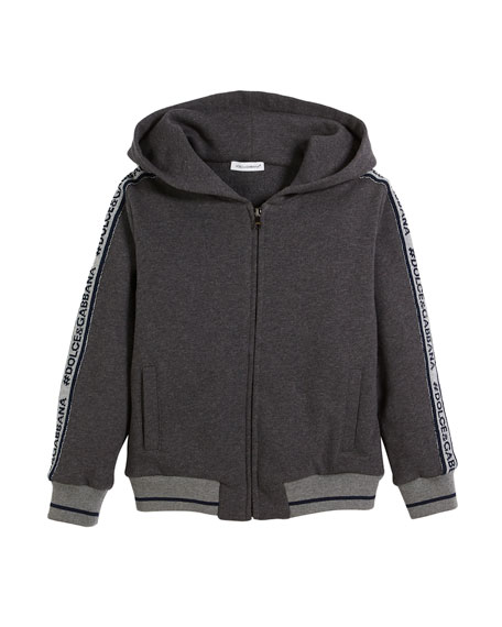 D&G Logo Tape-Detail Hoodie Sweatshirt, Kid Boys