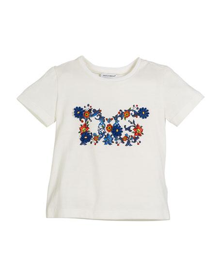 Dolce & Gabbana Maiolica Floral Cotton Logo Tee,