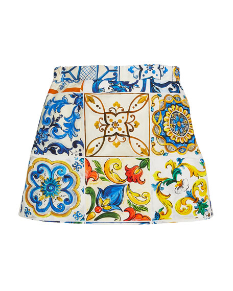 Maiolica-Tile Print Mini Skirt, Size 8-12