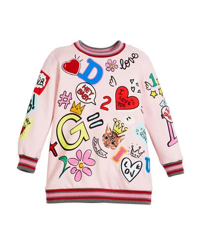 Long Graffiti Fleece Tunic Dress, Size 8-12