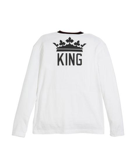Long-Sleeve Striped-Collar King T-Shirt, Size 8-12