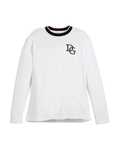 Dolce & Gabbana Long-Sleeve Striped-Collar King T-Shirt, Size