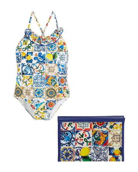 Maiolica-Print Cross-Back One-Piece Swimsuit, Size 8-12